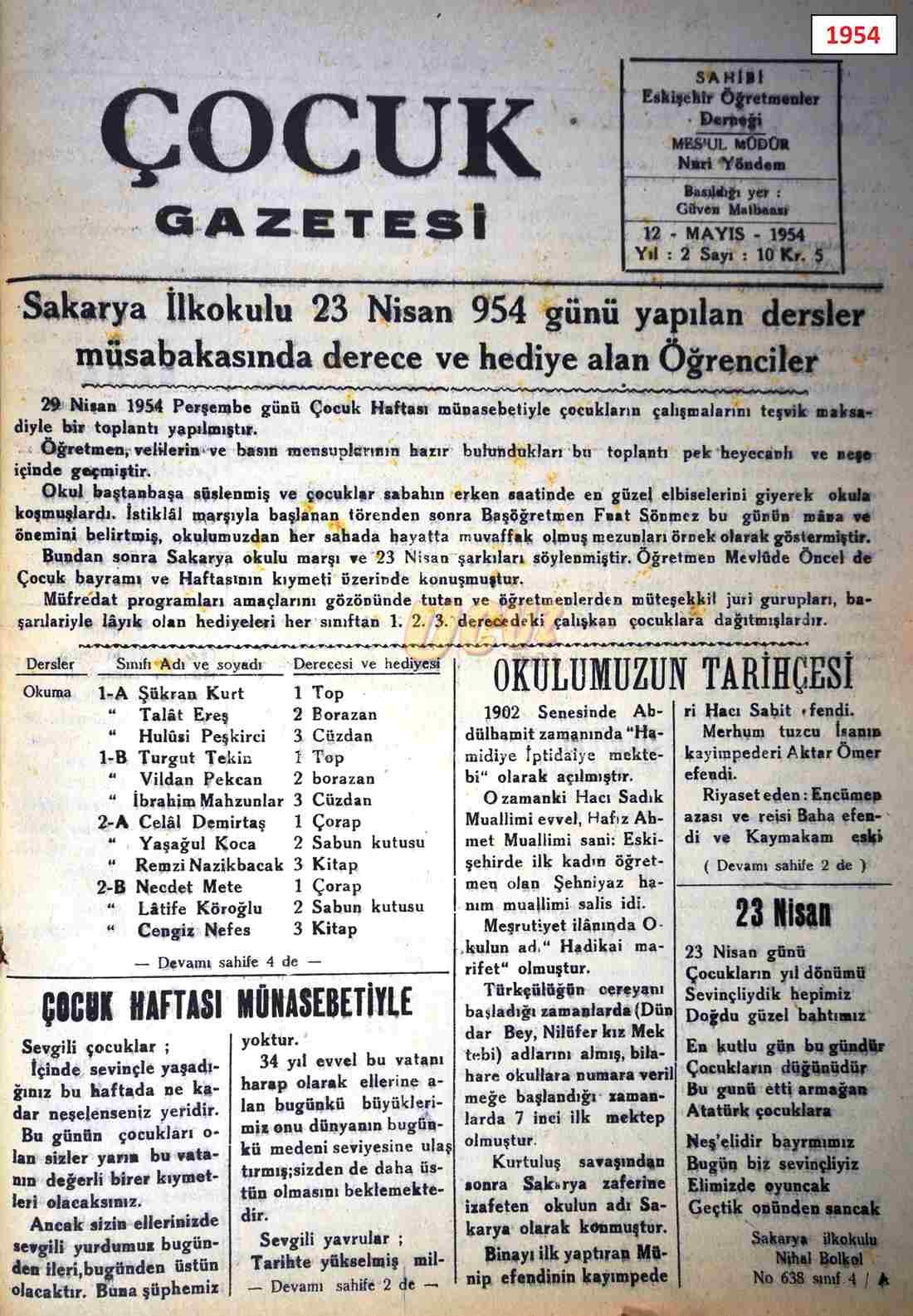 1954 çocuk gazetesi 1